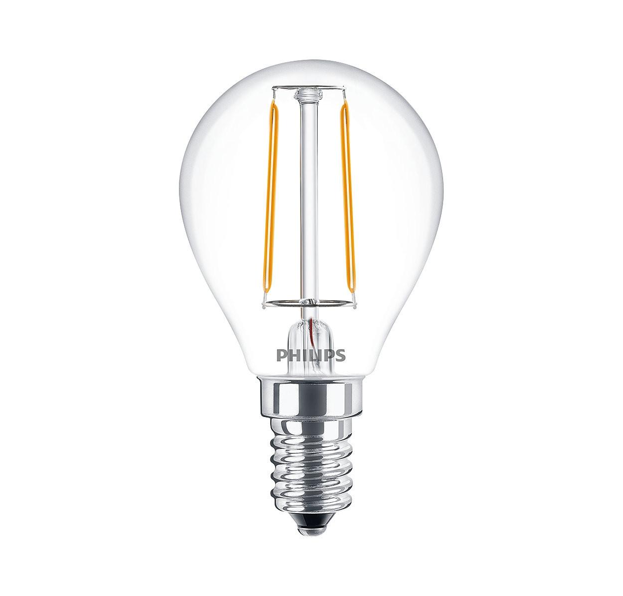 LED Filament Lampe Philips • E14 • 220-240V/AC/50Hz • 2,0W (2,0W = 25W), 250lm • 2700K warmweiss (extra warm)
