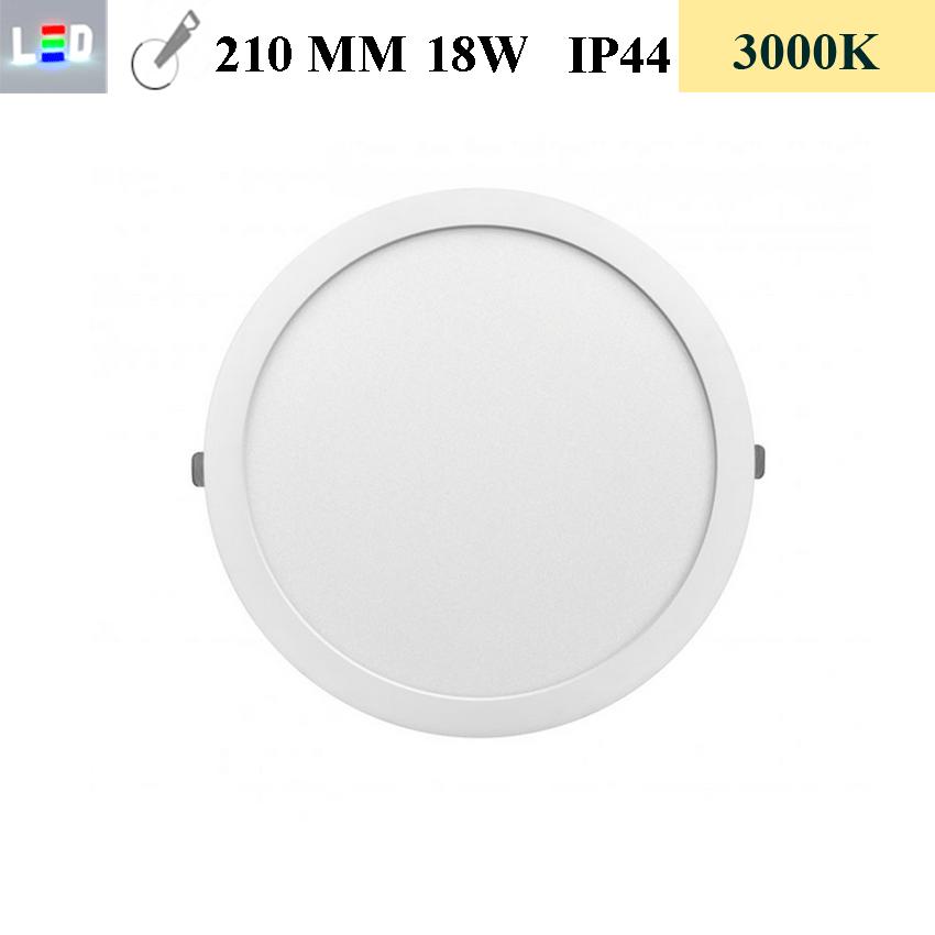 LED Einbauleuchte rund • 18W • EinbauØ 210mm • AußenØ 225mm • Einbauhöhe 12mm • 230V/AC - 18W • 3000K • 1440lm • IP44 • 120° • dimmbar • incl. Trafo (LED Downlights)