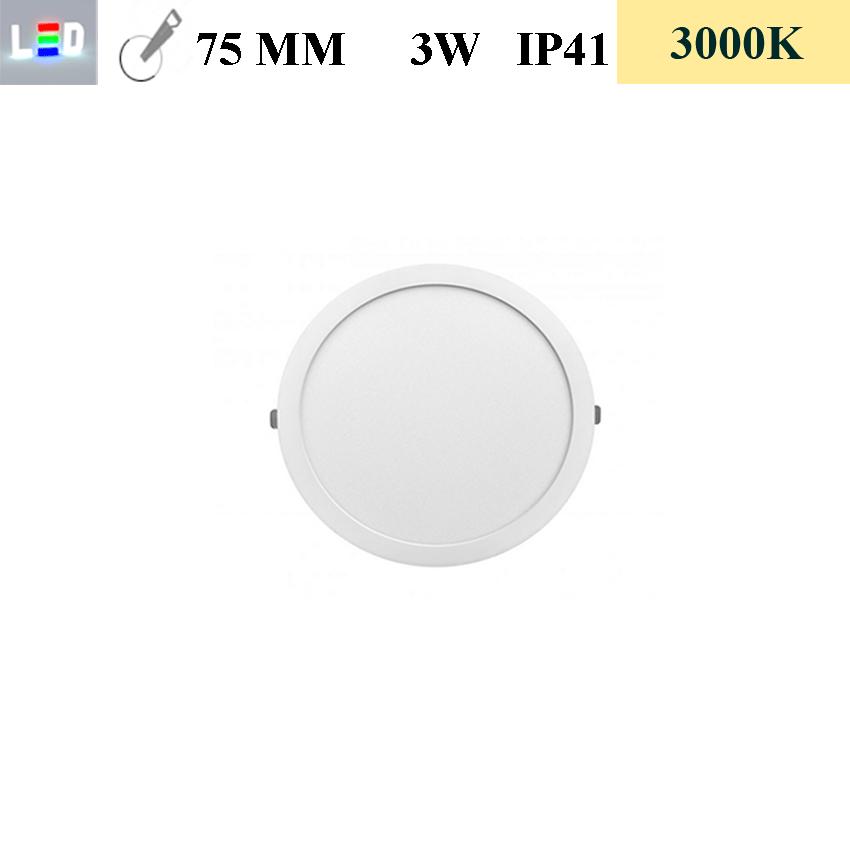 LED Einbauleuchte rund • 3W • EinbauØ 75mm • AußenØ 85mm • Einbauhöhe 12mm • 230V/AC - 3W • 3000K • 225lm • IP41 • 120° • dimmbar • incl. Trafo (LED Downlights)