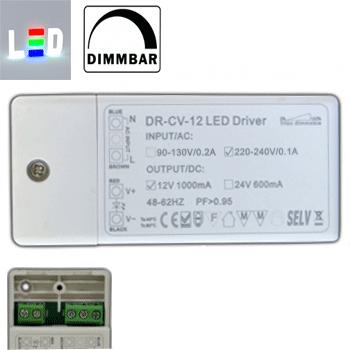 Trafo/Treiber für LED P230V/AC - S12V/DC 1000mA • 1-12W / dimmbar • kleine Abmessungen (LED Vorschaltgeräte)