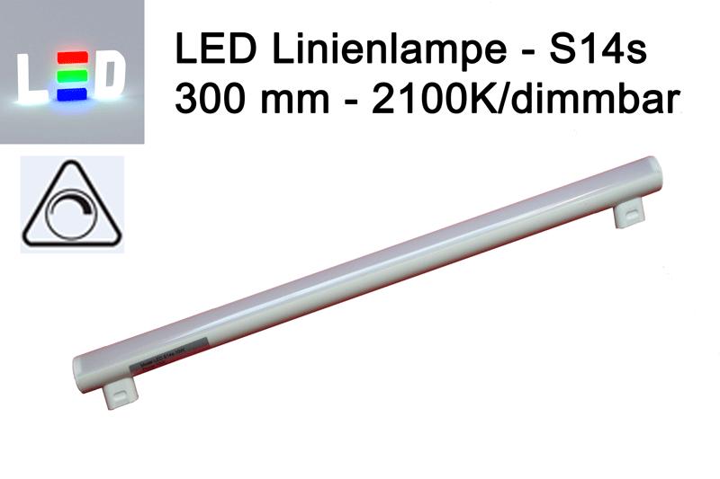 LED Linienlampen dimmbar (LINESTRA-Ersatz) 300mm - S14s - 2100K