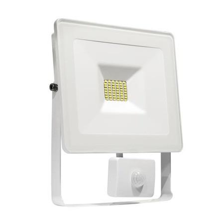 LED Fluter / Strahler / Flood light mit Bewegungsmelder 10W - 6500K - 900lm - IP 65 - Gehäuse weiss