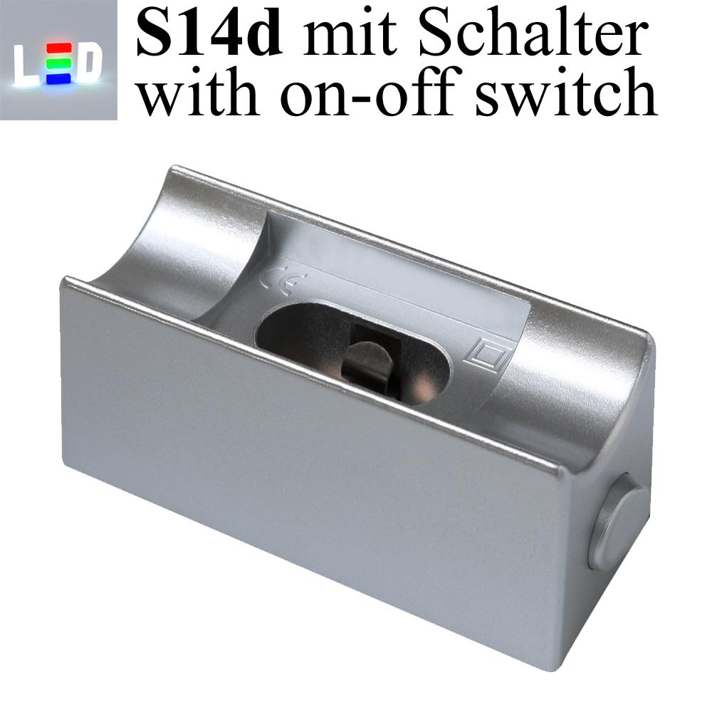 Sockel S14d für Linienlampe mit Ein- und Ausschalter - Farbe silber