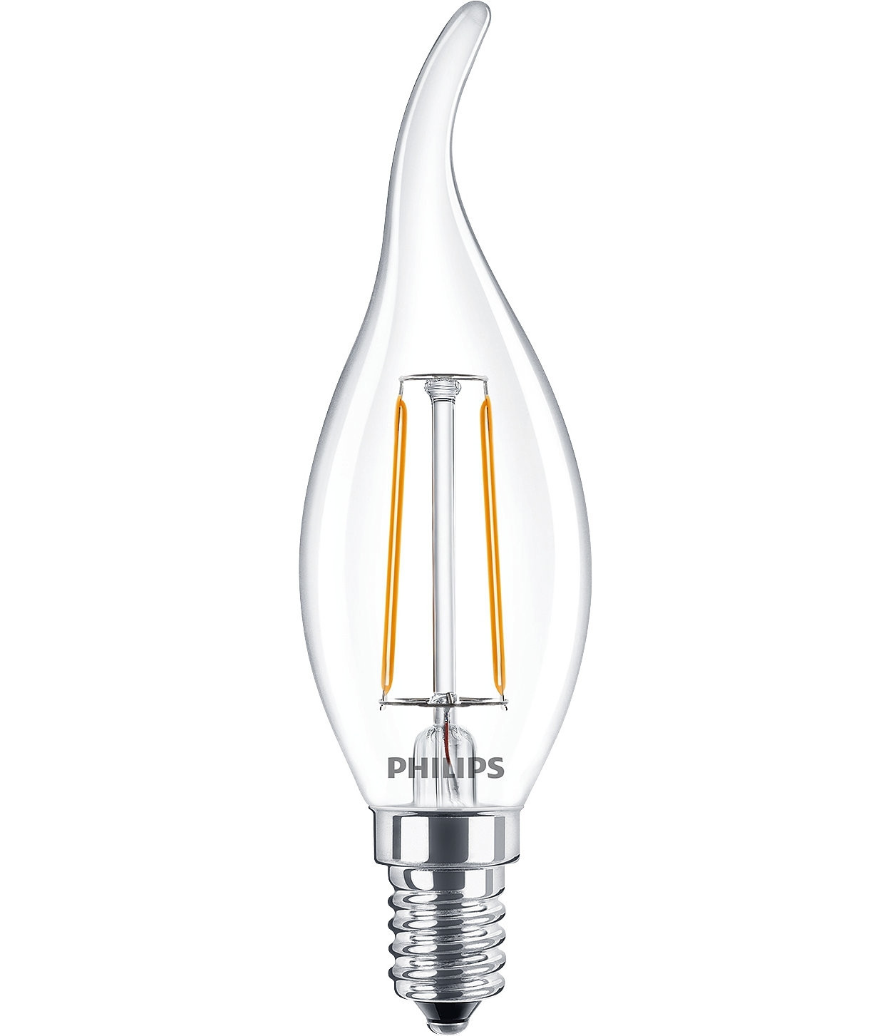 LED Lampe Filament Flammenform Philips • E14 • 230V/AC • 2,0W (2W=25W) • 250lm • warmweiss 2700K • 360° • 35x123mm • Hülle klar • nicht dimmbar