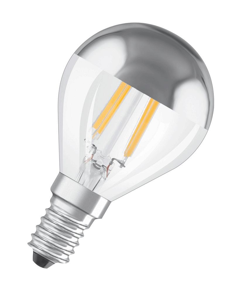 verspiegelte LED Lampe • Osram • Filament • Kopfspiegel-Lampe • 230V/AC • E14 • 4,00W (34W) • 380lm • 2700K • warmweiss • 320° • Hülle verspiegelt/klar • Ø45x78mm