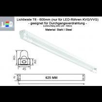 LED T8 Lampenfassung aus Stahl für Durchgangsangsverdrahtung L600mm weiss