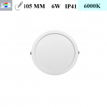 LED Einbauleuchte rund • 6W • EinbauØ 105mm • AußenØ 120mm • Einbauhöhe 12mm • 230V/AC - 6W • 6000K • 450lm • IP41 • 120° • dimmbar • incl. Trafo (LED Downlights)