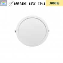 LED Einbauleuchte rund • 12W • EinbauØ 155mm • AußenØ 170mm • Einbauhöhe 12mm • 230V/AC - 12W • 3000K • 900lm • IP41 • 120° • dimmbar • incl. Trafo (LED Downlights)