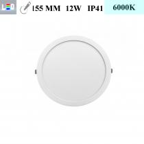 LED Einbauleuchte rund • 12W • EinbauØ 155mm • AußenØ 170mm • Einbauhöhe 12mm • 230V/AC - 12W • 6000K • 900lm • IP41 • 120° • dimmbar • incl. Trafo (LED Downlights)