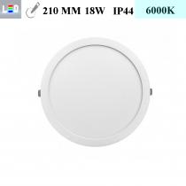 LED Einbauleuchte rund • 18W • EinbauØ 210mm • AußenØ 225mm • Einbauhöhe 12mm • 230V/AC - 18W • 6000K • 1440lm • IP44 • 120° • dimmbar • incl. Trafo (LED Downlights)
