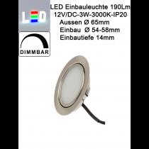 LED Einbauleuchte Gehäuse matt chrom • 12V/DC • 3W • 190lm • 3000K • 90° • Ra 80 • AØ 65mm • EinbauØ 54-58mm • Einbautiefe 14mm • Aufbauhöhe 1,2mm • dimmbar