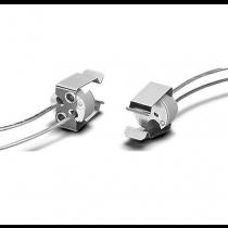 Lampen-Fassung für Leuchtmittel GU5.3 • zum Anschrauben • Durchgangslöcher für Schraube ST2,9 • LL 140mm • mit Halteklammer für Leuchtmittel
