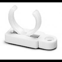 Lampenhalter    Für Lampen Ø 16 mm Material: PC, weiß, UV-stabilisiert Durchgangsloch für Senkschraube M3 Bohrung für selbstschneidende Schraube