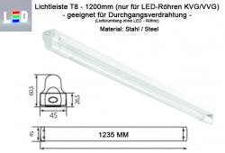LED T8 Lampenfassung für Durchgangsangsverdrahtung L1200mm weiss ohne Vorschaltgerät EVG KVG - Gehäuse aus Stahlblech