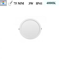 LED Einbauleuchte rund • 3W • EinbauØ 75mm • AußenØ 85mm • Einbauhöhe 12mm • 230V/AC - 3W • 4000K • 225lm • IP41 • 120° • dimmbar • incl. Trafo (LED Downlights)