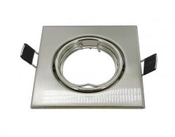 """Einbaurahmen viereckig 87x87mm - Edelstahl optik gebürstet - für GU10/GU5,3/MR16 beweglich """"Hotspot"""" - Bohrlochdurchmesser 65-70mm"""