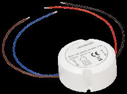 Trafo rund (für Hohlwanddosen) für LED P220-240V/AC - S12V/DC • 0,5-12W /  • Abm. Ø 55mm - H23mm