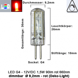 LED G4 Mini (Deko-Light) • 12V/DC dimmbar • ⌀ 9,2mm/L36mm • 1,5W (ROT) • 660nm • 90lm • 330° • Silicagel