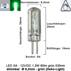 LED G4 Mini (Deko-Light) • 12V/DC dimmbar • ⌀ 9,2mm/L36mm • 1,5W (grün) • 530nm • 90lm • 330° • Silicagel