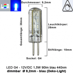 LED G4 Mini (Deko-Light) • 12V/DC dimmbar • ⌀ 9,2mm/L36mm • 1,5W (blau) • 440nm • 90lm • 330° • Silicagel