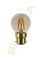 LED Golfball gold • 24V/DC • B22 • 3 W=(20 W) • 200 Lm • 2000K • CRI90 • D45mm L75mm