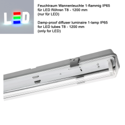 LED Feuchtraumleuchte 1-flammig für T8 LED Röhren 1200mm (nur LED) • grau/tranparent • IP65 (ohne Vorschaltgerät) • L1276xB58xH68 mm