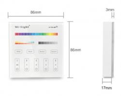 Wandsteuerung 4-Zonen für Industry RGB Strahler und Panels mit Anleitung - Abmessungen