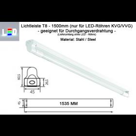 LED Lichtleiste für Röhren T8 (nur LED) 1500mm Länge • Farbe weiss • Metall • IP20 • für Durchgangsverdrahtung