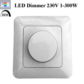 LED-Drehdimmer Unterputz • 1-200W • 200-250V/50Hz • Gehäusefarbe weiss • IP20
