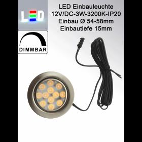 LED Einbauleuchte Gehäuse matt chrom • 12V/DC • 3W • 200lm • 3200K • 40° • AØ 65mm • EinbauØ 54-58mm • Einbautiefe 15mm • Aufbauhöhe 1,2mm • dimmbar
