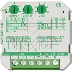 Schalk • LED Dimmer • Universal-Tastdimmer Unterputz (UP) 230VAC 0-500VA Schalk ETD U2