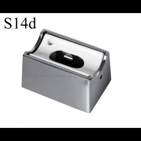 LED Aufbau-Fassung/Sockel S14d Chrom glänzend • für Linienlampe (auch LED)  • 230V/AC • max. 60W. •  L70xB46xH40mm