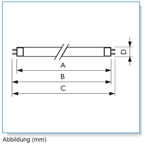 T8-Röhren Längenbüersicht - auch für LED-Röhren