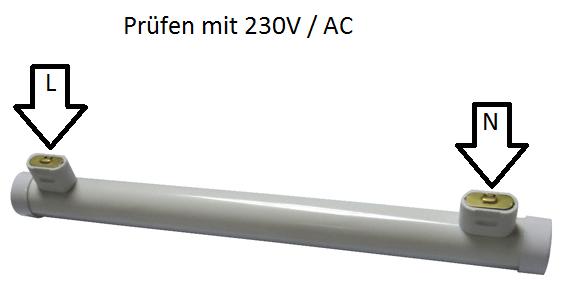 LED Linienlampe prüfen S14s