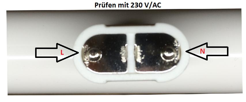 LED Linienlampe prüfen mit Sockel S14d