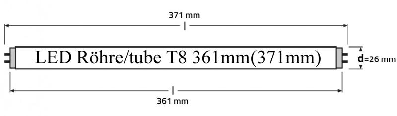 Längenschlüssel LED Röhre / tube T8 361mm - 371mm