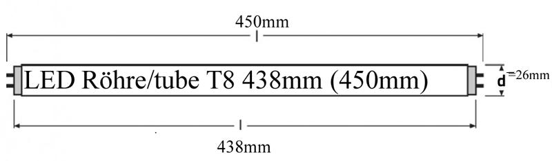 Längenübersicht LED Röhren 438/450mm