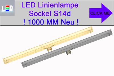 Linienlampe S14d 1000mm - ein Sockel mittig